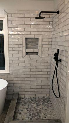 Master Shower Tile, Small Bathroom Tiles, Bathroom Tile Showers, Modern Bathroom, Small Bathroom Floor Plans, Ceramic Tile Bathrooms, White Bathroom, Bathroom Wall, Master Bathroom