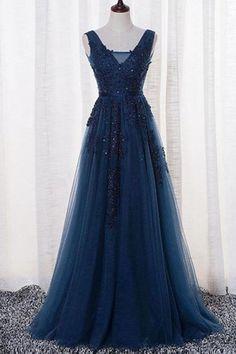 A Line Navy Blue Open Back Lace Prom Dress Formal Evening Dress