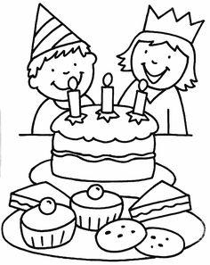 kleurplaat verjaardag - feest