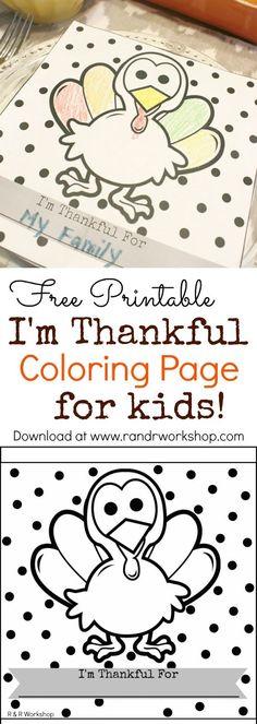 I'm Thankful Kids Coloring Page (Free Printable)