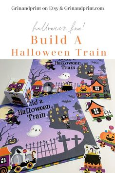 Aug 26, 2020 - This is our Build a Halloween Train. The Ghosts and Goblins are out and they need a way to travel from city to city during Halloween Night! This Fun Halloween Game for Kids is Building that Train with a roll of our paper die. If you need some Halloween Party Ideas while indoor or you need Simple Halloween Activities fo… Halloween Train, Halloween Class Party, Halloween Activities For Kids, Halloween Night, Halloween Kids, Kids Party Tables, Party Printables, Printable Invitations, Cheap Party Decorations