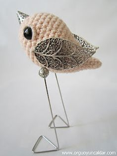 Amigurumi bird with delicate details. Way to combine crochet and other media!