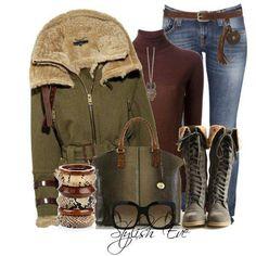 #winter #eeady #jeans #sheepskin #boots #wool #army #green #jeans