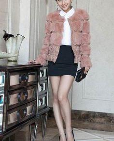 winter fashion ladies' genuine Rabbit Fur coat down jacket and keep warm