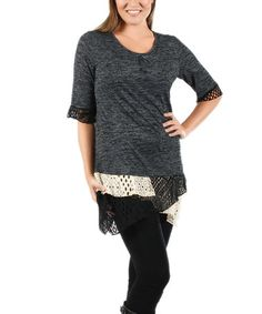 Another great find on #zulily! Gray Lace Layered Tunic - Plus #zulilyfinds