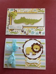 Echo Park Bundle of Joy, and used Stampin up punches.  Baby Boy card