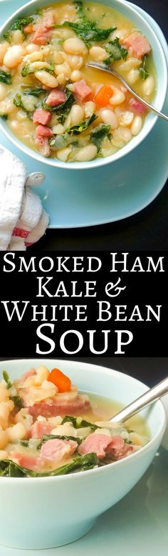This easy ham and bean soup recipe gets an extra boost of healthy vitamins from kale!  Feeds a crowd!