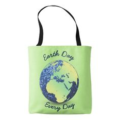 Personalize Earth Day blue sparkles Globe all over print Tote Bag by #PLdesign #EarthDay #SparklyEarth