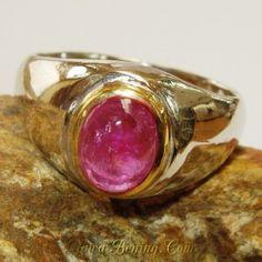Simple Vintage Ruby Silver Ring 6.5 US