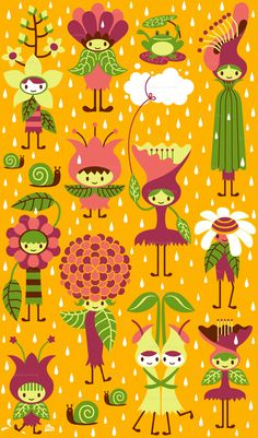 Spring rain by Melisza from spoonflower