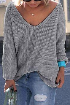 Classic Design Grey Loose Plunge Sweater