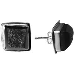 Maya Magal Black Druzy Studs ($94) ❤ liked on Polyvore featuring jewelry, earrings, jewels, drusy earrings, sparkle jewelry, sterling silver jewellery, square earrings and drusy jewelry