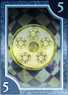 Persona 3/4 Tarot Card Deck HR - Suit of Coins 5 by Enetirnel