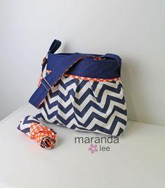 Stella Chevron Diaper Bag Set with Changing Mat Pad by marandalee, $109.00