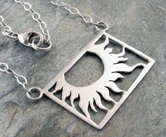 Sterling Silver Sun Necklace  SunFlower pendant  by AmityJewelry, $65.00