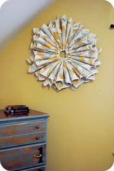 Made from road maps from the dollar store
