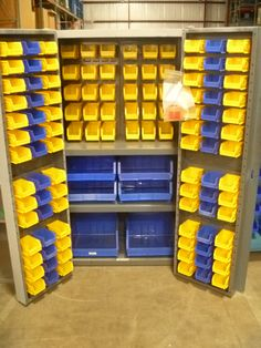 Superieur Hardware Storage Cabinet With 2 Shelves, And 120 Hanging/nestable Storage  Bins.