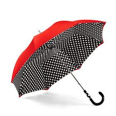 Ladies Polka Dot Umbrella in Red Black with White Polka Dots - Aspinal of London Cool Umbrellas, Umbrellas Parasols, Lace Umbrella, Under My Umbrella, Singing In The Rain, Aspinal Of London, Vintage Accessories, Polka Dots, Lady