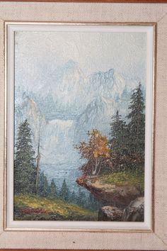"""Artist Signed Oil Painting on Wood Snowcapped Mountain Waterfall """"help with Sig"""" #Impressionism"""