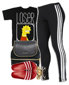 """""""Loser."""" by cheerstostyle ❤ liked on Polyvore featuring adidas, Ted Baker, adidas Originals and Nixon"""