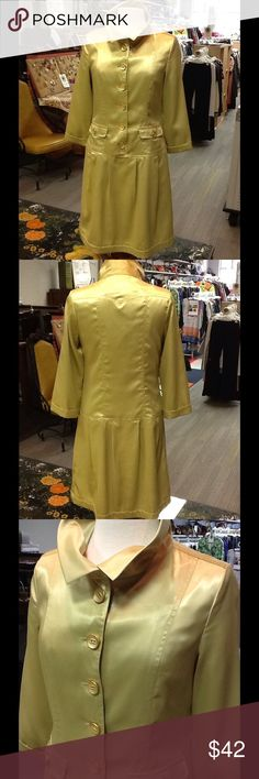 Vertigo Paris Jacket Dress Vintage inspired jacket dress in on-trend celadon color.  Fully lined and moves and shines like smooth satin.  Vertigo is a French luxury brand known for its feminine yet modern style. Five star rating and same day shipping.  Check us out on FB 👍 and at furbishedfashion.com. Vertigo Paris Dresses Long Sleeve