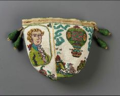 Drawstring bag (1783). French.  Small, round drawstring bag made up of four triangular panels. Polychrome opaque and translucent glass beads strung with linen thread, held together by interlocking looping stitches (sablé). Commemorates Montgolfier's balloon ascent. Two scenes on white ground, each repeated twice: portrait of Jean Francois Pilâtre de Rozier; balloon ascension of 21 November 1783 in Paris. Silk netting and braided drawstrings with four beaded tassels. Pink silk taffeta lining.