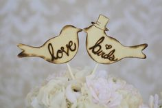 Cake Topper Love Birds With Top Hat Rustic Wedding by braggingbags, $34.50