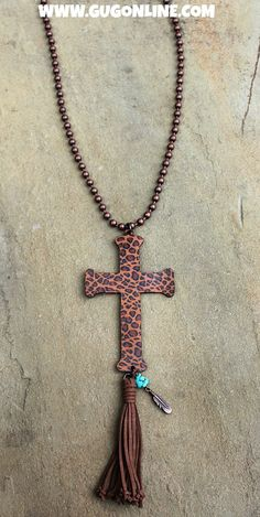 Long Rust Chain Necklace with Cheetah Leather Cross with  Tassel - $29.95 www.gugonline.com