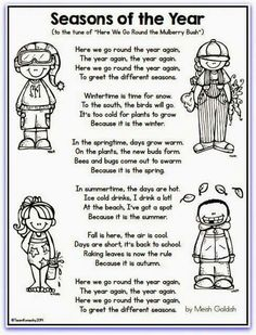 This seasons song could be used the same way as the weather song. I could have the students color the page and then laminate for later use. The students could sing the song each day of the unit! Seasons Lessons, Seasons Song, Seasons Of The Year, Weather Seasons, Seasons Kindergarten, Kindergarten Science, Preschool Seasons, Preschool Weather, Preschool Music