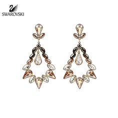 $150 Swarovski Color Crystal Pierced Earrings ALABASTER AUGUST #5037586