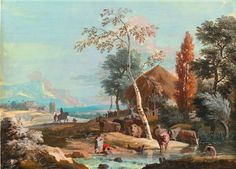 Marco Ricci. A Landscape with Washerwomen and a Man Bathing on a River Near a Thatched Cottage.
