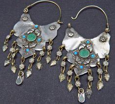 Vintage Afghani Tribal Earrings with Dangles Green Belly Dance Uber Kuchi. $14.95, via Etsy.