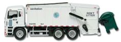New York City Sanitation Set by Daron Worldwide Trading inc. $13.79. rubber tires. Comes iwth Dumpster and waste collector truck. Truck is six inches long and aproximately two inches tall. plastic parts. diecast metal
