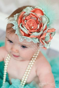 Mint Green and Peach Baby Headband- Newborn Photo Prop- Infant Headband, Toddler, Girl-Photo Prop-Couture Headband on Etsy, $18.00