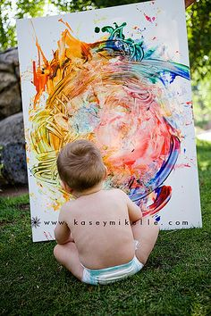 first birthday masterpiece. using masking tape to write child's name and then lift when finger painting is done. put child's birthday portrait in their room. Baby 1st Birthday, First Birthday Parties, First Birthdays, First Birthday Photos, 1st Birthday Ideas For Boys, 1 Year Old Birthday Party, First Birthday Traditions, Simple First Birthday, Rainbow First Birthday
