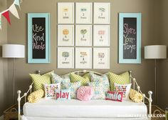 Love the words on the chalkboards and the pillows! Things We Love: Gallery Walls