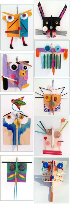 3D art project - faces from found objects - ArtLab Bronstein Sculptural Faces 2013