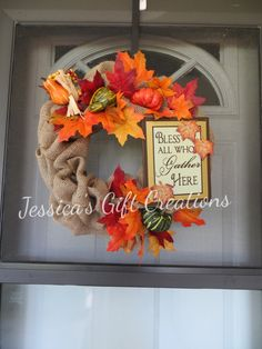 Bless All Who Gather Here Burlap Wreath/Fall/Harvest/Door Decor/Home Decor/Wall Decor/Fall Leaves/Perfect Gift/Ready to Ship by JessicasGCreations on Etsy