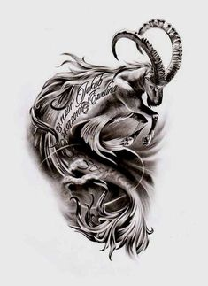 Best Capricorn Tattoo Designs 38 Best Capricorn Tattoos Designs and Ideas with Meanings Capricorn Symbol, Capricorn Art, Capricorn Tattoo, Zodiac Sign Tattoos, Horoscope Tattoos, Bull Tattoos, Head Tattoos, Body Art Tattoos, Sleeve Tattoos