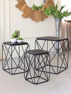 Black Metal Wire Table 3 Set | Brickell Collection