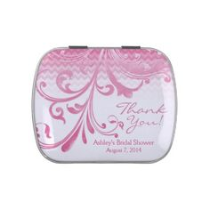 Ombre Hot Pink Floral Bridal Shower Candy Tin