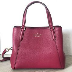 Kate Spade NY Jackson Medium Triple Compartment Satchel Leather Cranberry for sale online Passport Holder Wallet, Wristlet Wallet, Jackson, Cranberry Cocktail, Kate Spade Cameron Street, Medium, Purses And Handbags, Dust Bag, Satchel
