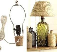 You can easily convert any bottle or jug into a table lamp with a Lamp Bottle Kit. The cord is on the outside, but you can hide it behind the base.