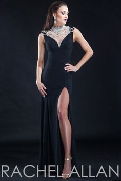 Jersey gown with heavily beaded illusion neckline and back detail