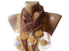 Leopard women Scarf. Leopard pattern, Turkish Fabric Guipure Scarf .elegant,golden brown , shawl neckwarmer cowl, for her