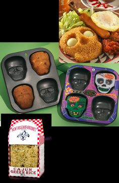 DIY:  Use a skull cupcake pan for a distinctly different way to serve rice.  Voodoo rice! Mardi Gras Halloween Voodoo Masquerade Ball