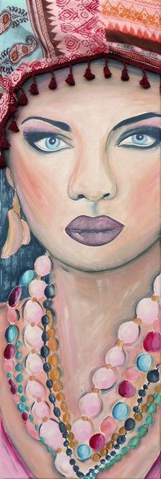 Kleurrijk schilderij Ibiza Girl. Geschilderd met acrylverf en gebruik gemaakt van een echte Ibiza sjaal.