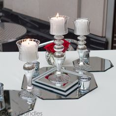 """Eastland Silver Mercury Glass Pillar Candle Holder with Clear Glass 10.25"""""""