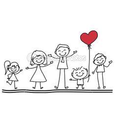 main, dessin dessin animé d'une famille heureuse avec coeur rouge — Illustration #43027069