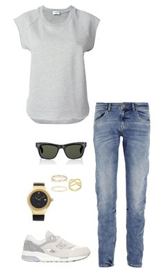 """""""Untitled #2049"""" by nava16 ❤ liked on Polyvore featuring dVb Victoria Beckham, Yves Saint Laurent, New Balance, HUBLOT, Oliver Peoples, Melissa Joy Manning and Maria Black"""